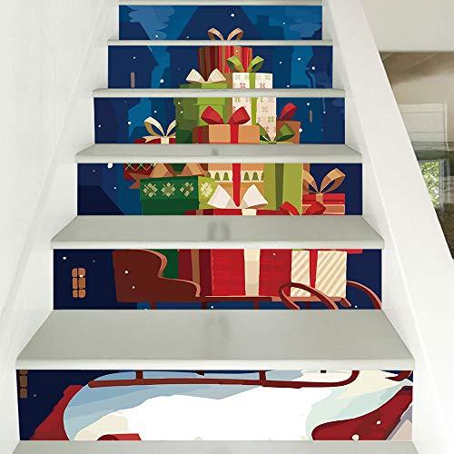 naufkleber Weihnachten Verkleiden Sich Treppen Aufkleber Schlitten Geschenk Treppen Dekorative Wandaufkleber 18CM*100CM ()