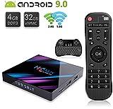 H96Max TV Box Android 9.0【4G+32G】 Boîtier TV RK3318 4K Ultra HD Bluetooth 4.0 WiFi 2.4G/5G LAN100M USB 3.0 Quad-Core 64bit Cortex-A53 RK3318 with Wireless Mini Backlit Keyboard Smart Android TV Box