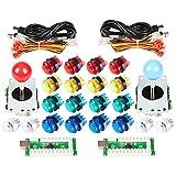 EG Starts Arcade Classic Kit DIY Parties USB LED Encoder Pour PC Console Jeux 2x 8voies Joystick 20x 5V boutons lumineux Illuminati pour Mame Jamma (Boutons Rouge/Bleu + Boutons Couleur Mix)