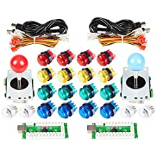EG STARTS Arcade Classic DIY Kit Parts 2x USB LED Encoder To PC Consols Games + 2x 4/8 Ways Joystick + 20x 5V Illuminated Push Buttons For Mame Jamma ( Red / Blue Stick + MIX Color Buttons)