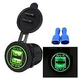 Samoleus 2 Port 4.2A USB Steckdose Motorrad Wasserdicht Ladegerät USB mit LED für Fahrzeug Motorrad Boot (Grüne LED)
