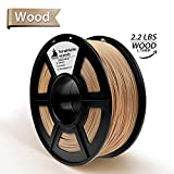 Real Wood PLA 3D Printer Filament,Wood Filament 1.75 mm,1KG(2.2LBS) Spool, Dimensional Accuracy +/- 0.02 mm,Wood Filament,No Clogging