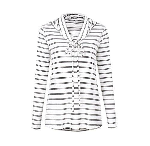NiSeng Donna Elegante Collo Rotondo Manica Lunga Camicia Camicetta Maglietta Casuale Striscia T-Shirt Tops Bianca