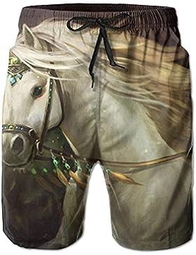 Funny Caps Amazing White Horse Pattern Men's/Boys Casual Swim Trunks Short Elastic Waist Beach Pants with Pockets