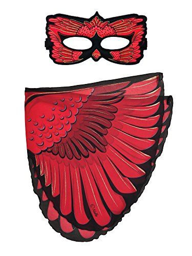 Dreamy dress-ups 663152-Spielset: Flügel + Maske, Cardinal (Kostüm Kardinal Vogel)
