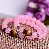 MGZDH Bracciale in calcedonio rosa naturale modello femminile colore caramella rosa chiaro dolce
