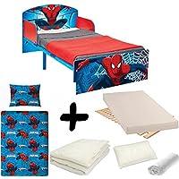 BEBEGAVROCHE Komplettpaket Bett Holz und Metal Spiderman = Bett + Matratze & Bettwäsche + Bettdecke + Kissen