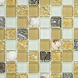 Mosaik Fliese Transluzent beige Glasmosaik Crystal Muschel beige für WAND BAD WC DUSCHE KÜCHE FLIESENSPIEGEL THEKENVERKLEIDUNG BADEWANNENVERKLEIDUNG Mosaikmatte Mosaikplatte