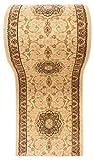 WE LOVE RUGS CARPETO Läufer Teppich Flur in Beige - Orientalisch Muster - 3D-Effekt Dichter und Dicker Flor - Läuferteppich nach Maß - ISKANDER Kollektion 70 x 300 cm