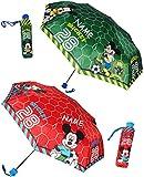 1 Stück _ Taschenschirm - ' Fußball & Mickey Mouse ' - incl. Name - ø 97 cm - Regenschirm / Kinderschirm / Erwachsenenschirm - für Mädchen / Jungen und Erwachsene - Sturmfest - zusammenklappbarer Kinderregenschirm Schirm - Playhouse / Maus - Fußballer - Fußballspieler - Ball
