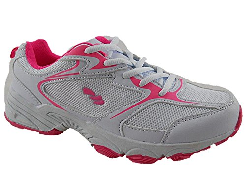 Foster Footwear Ladies 816109 galop Mesh Lace Up Trainers Lightweight Casual Comfort Sports Gym Running Shoes (UK 5/EU 38, White/Pink)