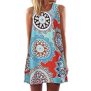 Kurzes Kleid für Damen,Sommer Lose Mit Blumen Bedrucktes T-Shirt Mini Kleid BeiläUfige Ärmelloses Boho Partykleid…