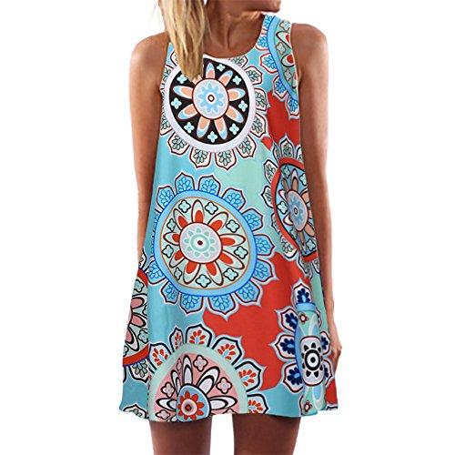 kolila Damen Boho Kleid Übergroßen 5XL/EU46 Sommer Ärmellos Blumendruck A-Linie Mini Camisole Kleider