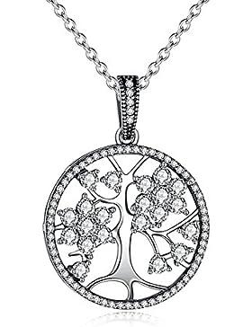 funkelnde Damen-Halskette mit Lebensbaum Anhänger, Tree of Life, 925 Sterling Silber, Zirkonia Kristalle, Autiga®