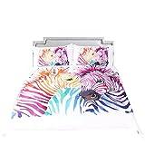 YGMDSL Bettfutter 3-teiliges Set Polyester 3D Farbe Zebra(1 Bettbezug 2 Kopfkissenbezüge),173 * 218cm