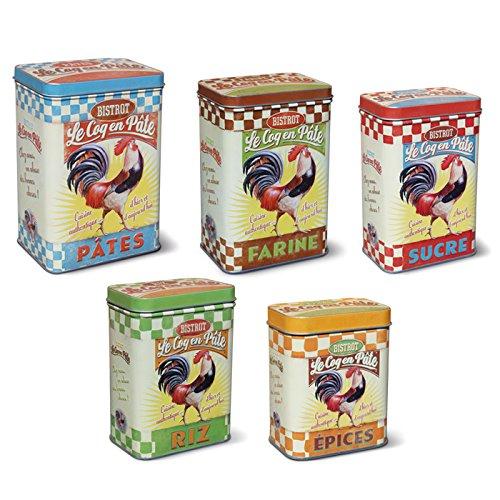 Retro Vintage Metal latas tarros 5piezas Pasta Harina Coq en pate gr