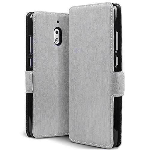 TERRAPIN, Kompatibel mit Nokia 2.1 Hülle, Leder Tasche Case Hülle im Bookstyle mit Standfunktion Kartenfächer - Grau