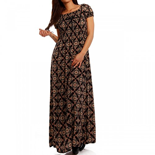Young-Fashion Damen Maxikleid Kleid Carmen Ausschnitt Kleid Lang, Farbe:Mehrfarbig/Model3;Größe:34/36