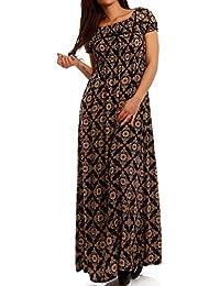 585c8b449c5f Young-Fashion Maxi-Kleid Carmen Kurzarm und mit Ausschnitt - Als stylisches  Strand-Kleid oder Party-Kleid…