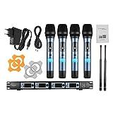ammoon Sistema di Microfono Professionale 4 Canali UHF Senza Fili Handheld...