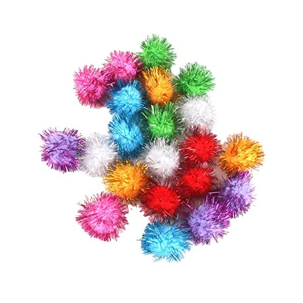 KINGQ Tinsel Pompoms Balls Cat Toy  Multicolor Pack of 21 1