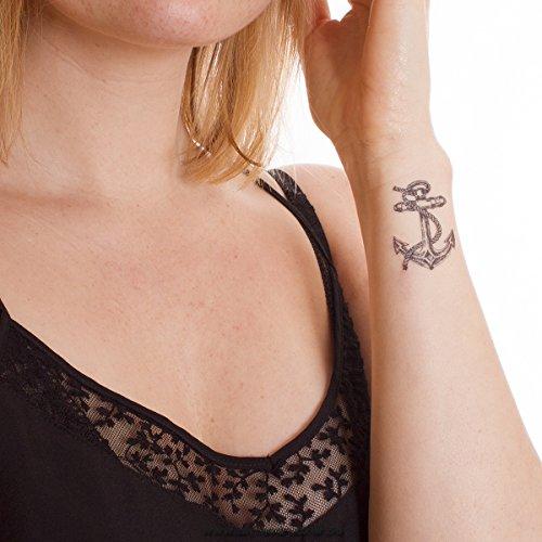 eil - Anker Tattoo Set - Fasching Tattoo (5) (Make-up Für Matrose Kostüm)