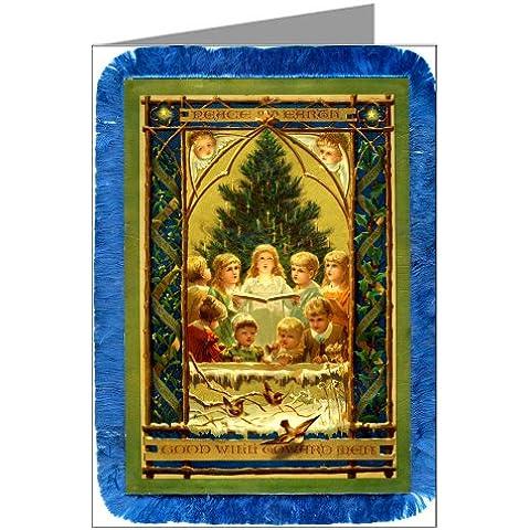 Vintage Original prangs festività biglietti di Natale di bambini albero della canto prima, Victorian nota carte Boxed Set