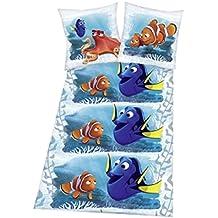 Dorie–Nemo–Encuentra Dorie–Azul–Disney––Cama de Franela de cama juvenil–Cama–divertido–Talla 80x 80cm, funda nórdica: 135x 200cm–franela–Material: 100% algodón, lavable a 60°C, apto para secadora