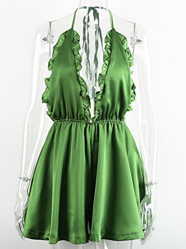 Simplee Apparel - Combinaison - Dos nu - Femme Vert