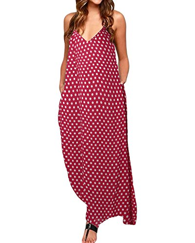 StyleDome Damen Kleider V-Ausschnitt Dünne Ärmellose Swing Polka Punkt/Blumenmuster Taschen Maxi...