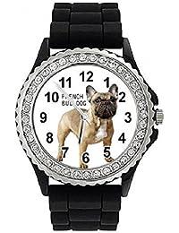 Bulldog francés Reloj de silicona para mujer con piedrecillas