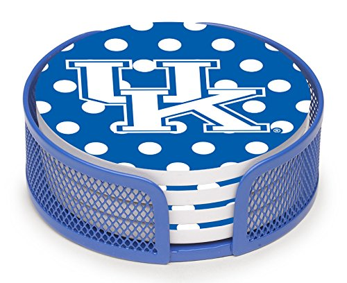 Thirstystone vuky2-ha27Steingut Drink Untersetzer-Set mit Halterung, University of Kentucky Dots Kentucky Coaster