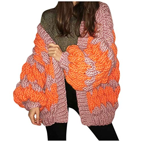 xue binghualoll Knitted Splice Coat für Frauen Casual Puff Sleeve Strickjacke Oberbekleidung Lose Overcoat Warm Winter -