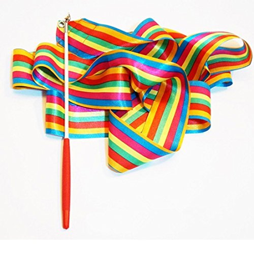 Tanz Band Gym Rhythmische Kunstturn Ballet Streamer Twirling Rod Mehrfarbengroß- (Guard-streamer Color)