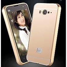 Prevoa ® 丨 Xiaomi Mi2 Mi2S Funda - Metal Frame Funda Cover Case para Xiaomi Mi2 Mi2S 4.3 Pulgadas Android Smartphone - Oro
