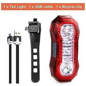 Sunspeed Luz Trasera Bicicleta Con USB Recargable Ultra Brillante 5 Modos de Iluminación Para Bici Ciclismo Cascos Mochilas Seguridad y Advertencia