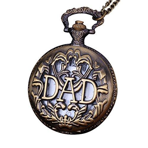 Halskette Schmuck ,Unisex Bronze Taschenuhr mit Gravur Römische Ziffern Skala Uhr Halskette