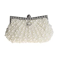 HONGCI Glitter Faux Pearl Beaded Rhinestone Women's Clutch Bag, Ladies Evening Bag Bridal Wedding Bag Handbag Prom Bag Purse (Off White)
