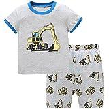 Hugbug Jungen Schlafanzug Kurz mit Bagger 3 Jahre