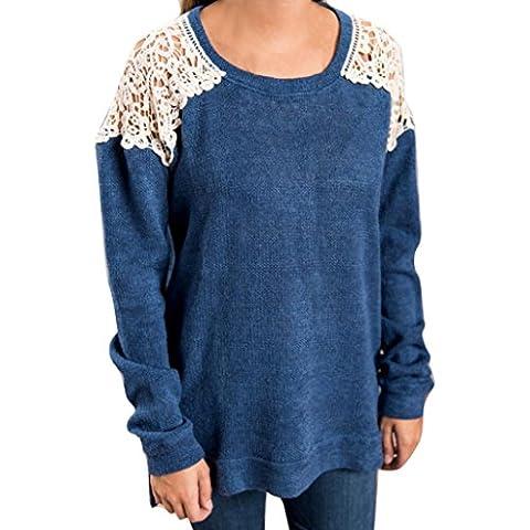OverDose Las mujeres de manga larga de punto suéter flojo Pullover Puente Tops Outwear