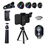 7 in 1 Smartphone Kamera Objektiv Kit, Bluetooth Fernbedienung + Mini Stativ + Fish Eye + Weitwinkel + Makroobjektiv + 2X Teleobjektiv