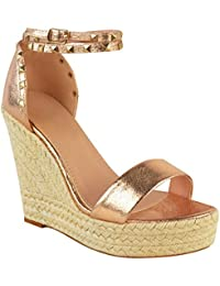 Sandales à talons hauts compensés - style espadrille/à clous - femme