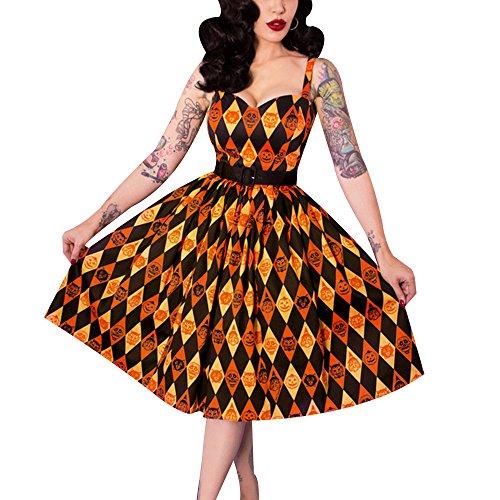 Kostüme Pin Halloween Mädchen Up Retro (Vin beauty Halloween Plus Size Frau Vintage Kleid Schädel Druck Kappen Hülse Midi Retro)