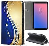 Samsung Galaxy S3 / S3 Neo Hülle Premium Smart Einseitig Flipcover Hülle Samsung S3 Neo Flip Case Handyhülle Samsung S3 Motiv (1528 Sterne Abstract Blau Goldfarben)
