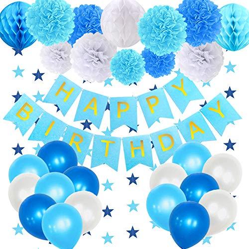 �cken Blau Geburtstagsdeko Junge, Papier Pompoms, Papierwabenbälle, Geburtstagsbanner, Ballonsset, geeignet für Geburtstag Dekorationen und Dekoration der Partydekoration ()