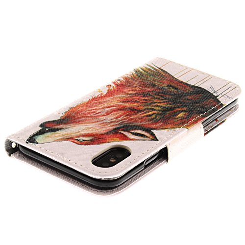 Linvei Apple iPhone X Coque,iPhone 10 Coque,[Conception de motif coloré][PU Cuir Housse][Portefeuille Flip][Stand Soutien/Card Slot /Fermeture Magnétique] - Couleur Loup Couleur Loup