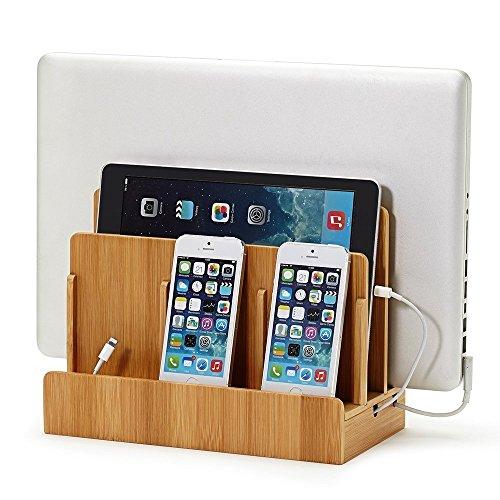 Support de charge, XPhonew Station de Charge en Bois Chargeur de Bureau Rangement de multi appareils avec socle Organisateur des Cables pour iPhone XS MAX XR X 8 7 iPad Smartphones Tablettes Lapto