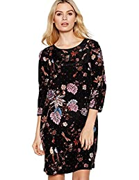 9b883e7b56f Nine by Savannah Miller Womens Black Floral Leaf Print  Amelie  Mini Shift  Dress