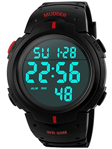 5ATM Wasserdichte Sport Armbanduhr Digital Quarz Rot