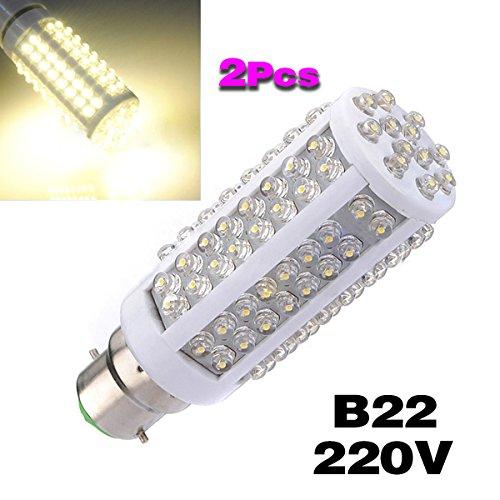 TOOGOO(R) 2pcs B22 7W 108 LED blanche chaude Spot lumiere lampe ampoule 220V